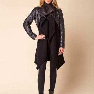 Leather and knit jacket with a leather tie belt